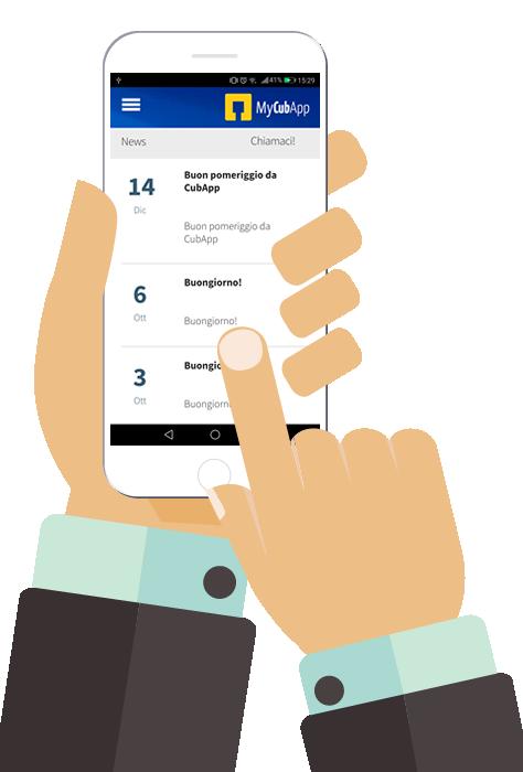 due mani che tengono smartphone con app mycubapp