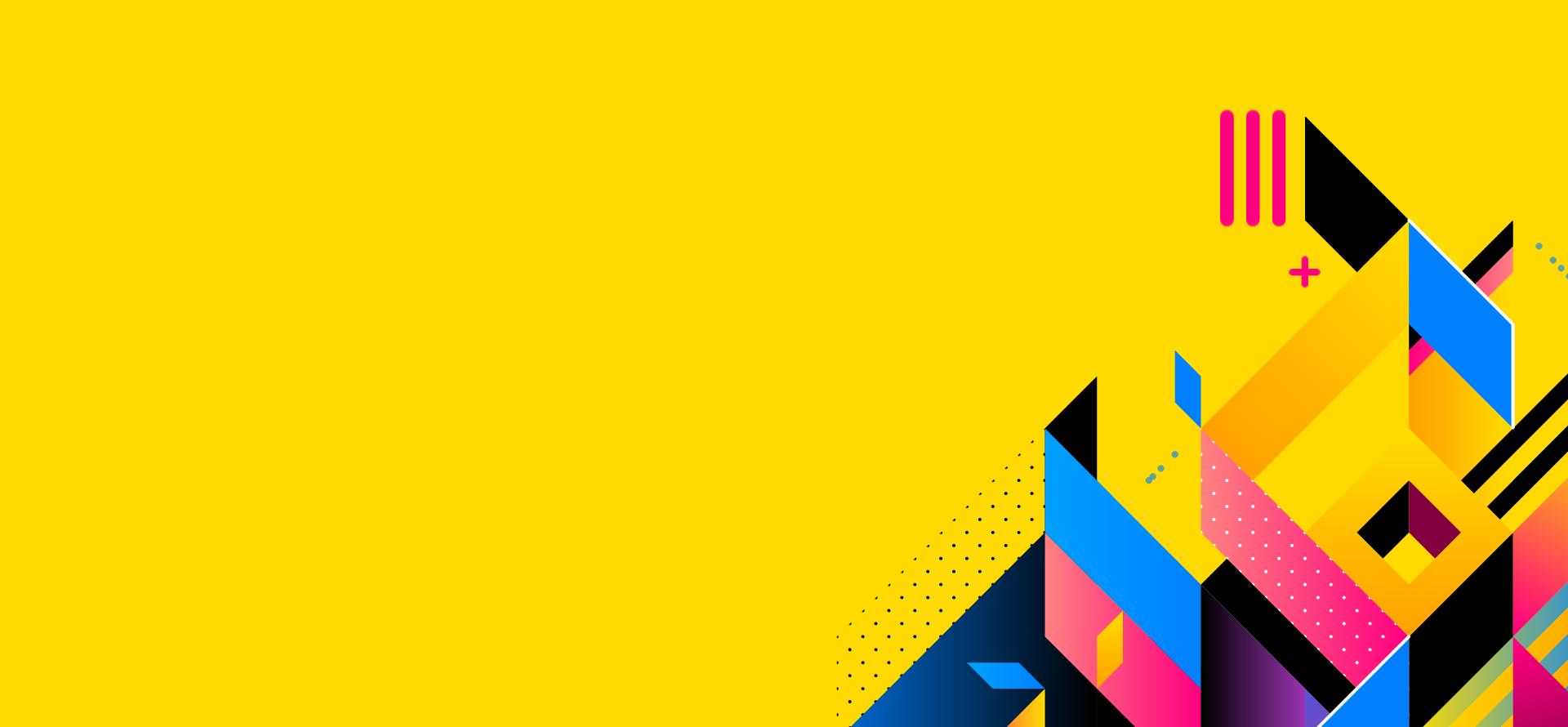 immagine sfondo gialla con figure astratte