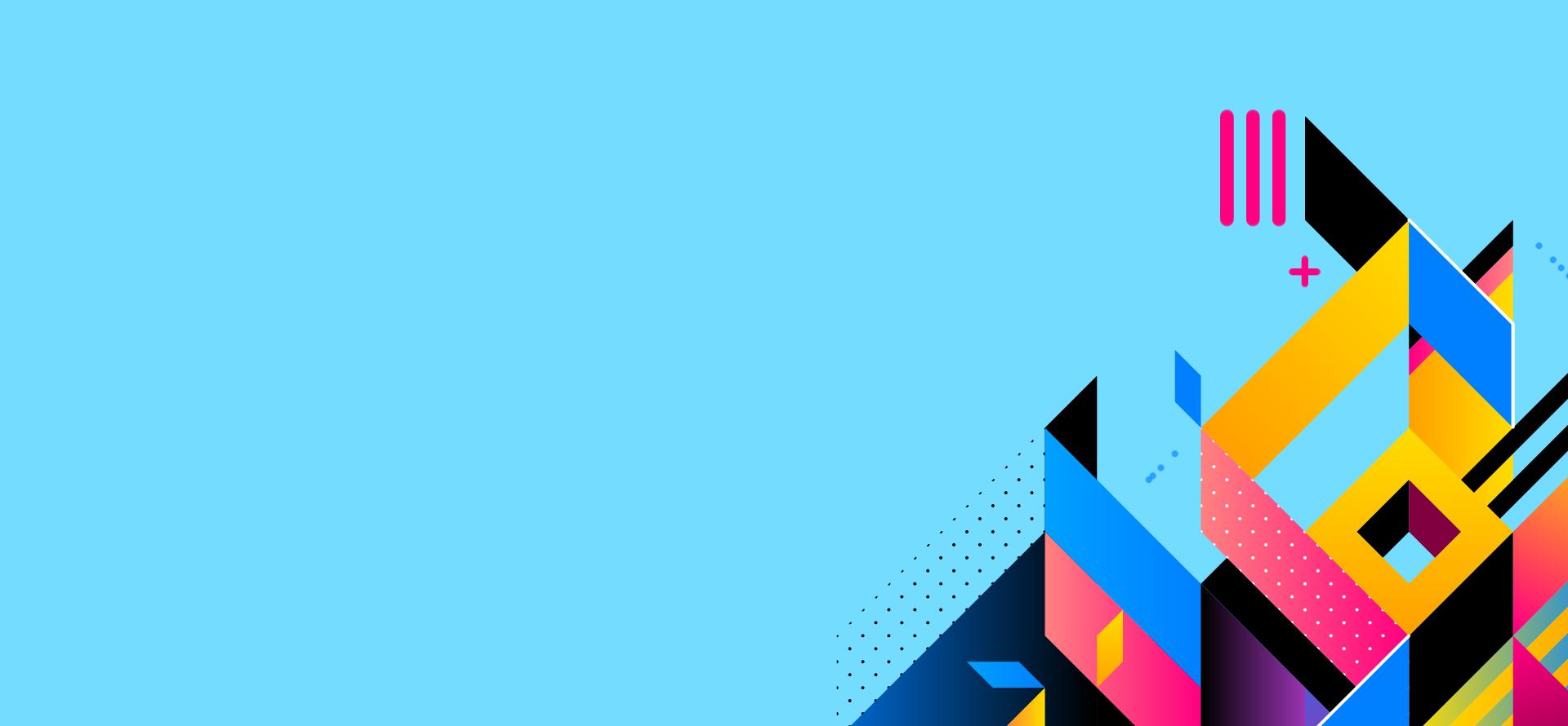 immagine sfondo azzurra con figure astratte